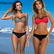 HolaSukey 2019 Summer Swimsuit Women Solid Bikini Set Push Up Padded Swimwear Sexy Bathing Suit Swimming