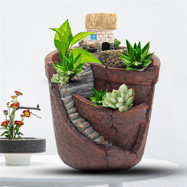 Étonnant Vintage Design Pot De Fleur Résine Plantes Succulentes Pot Micro EB-15
