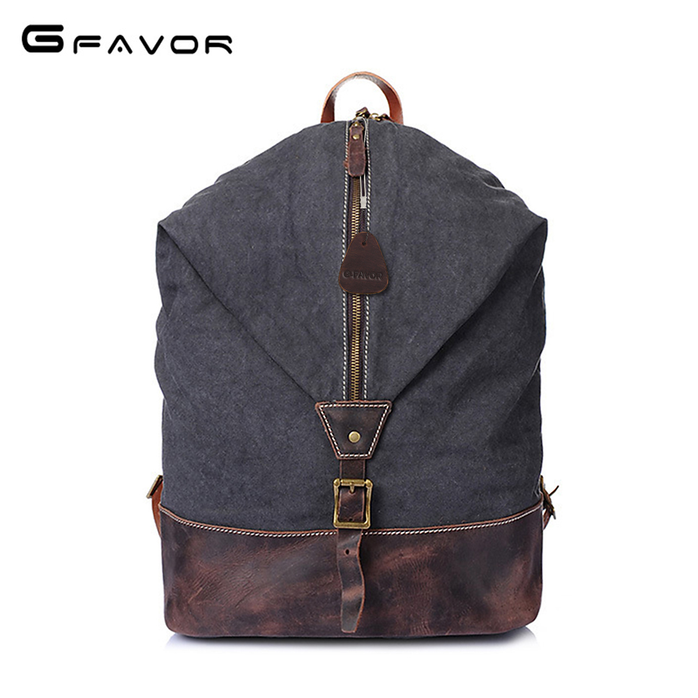G-FAVOR Vintage Bucket Travel Bag Men Canvas&Crazy Horse Leather Laptop Backpack Brand School Shoulder Bags Male Computer Bags male bag vintage cow leather school bags for teenagers travel laptop bag casual shoulder bags men backpacksreal leather backpack