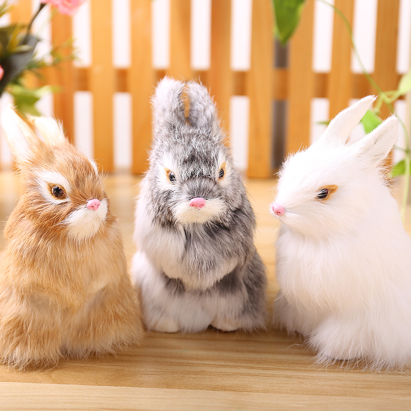15CM Mini Cute Rabbits Plush Toys Fur Lifelike Animal Easter Bunny Simulation Rabbit Toy Model Birthday Gift