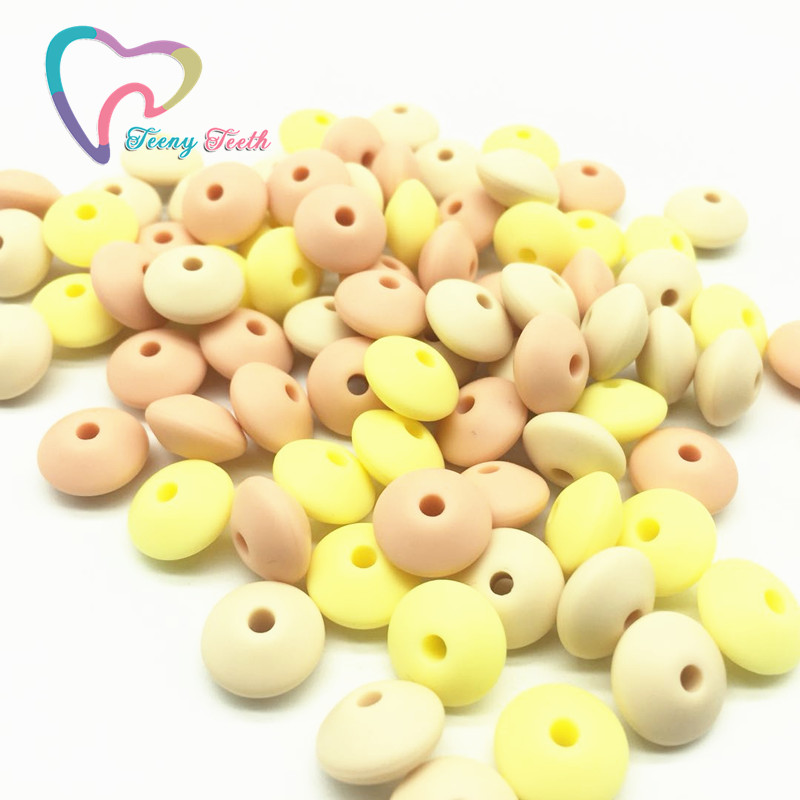 Teeny Teeth 50 PCS Yelllow Combo Silicone Lentil Beads Baby Chewable Non Toxic BPA Free Abacus Silicone Teething Loose Beads
