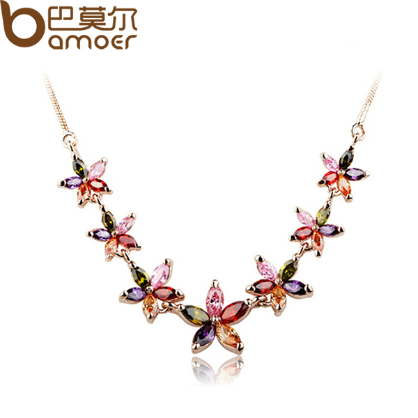 Drop Shipping  Rose Gold Color Flower Crystal Chain Necklace For Women Zircon High Quality Christmas Gift JIN002