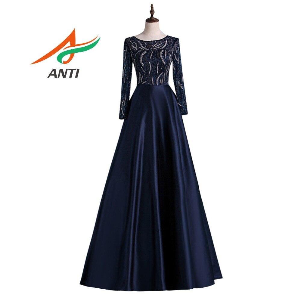 ANTI nouvelle robe de soirée bleu marine longue luxe perles cristal robes formelles perles une ligne de mariage avec manches longues