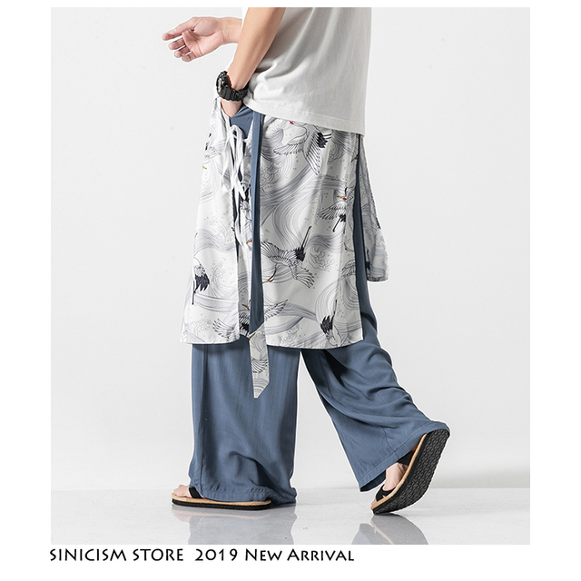 Sinicism Store Patchwork Flower Cotton Pants Mens Summer 2020 Chinese Style Loose Pants Male Wide Leg Pants Baggy Pants 13