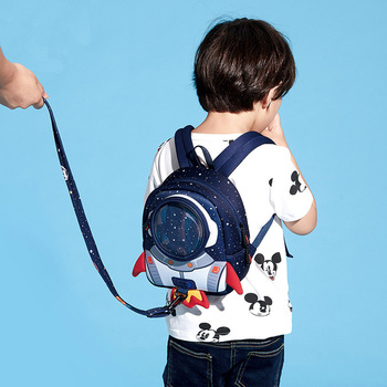 Одежда для малышей рюкзак 3D мультфильм ракета для мам и малышей с анти-потерянный Детские Жгут поводки для собак браслет с крыльями для 1/2/3 г...