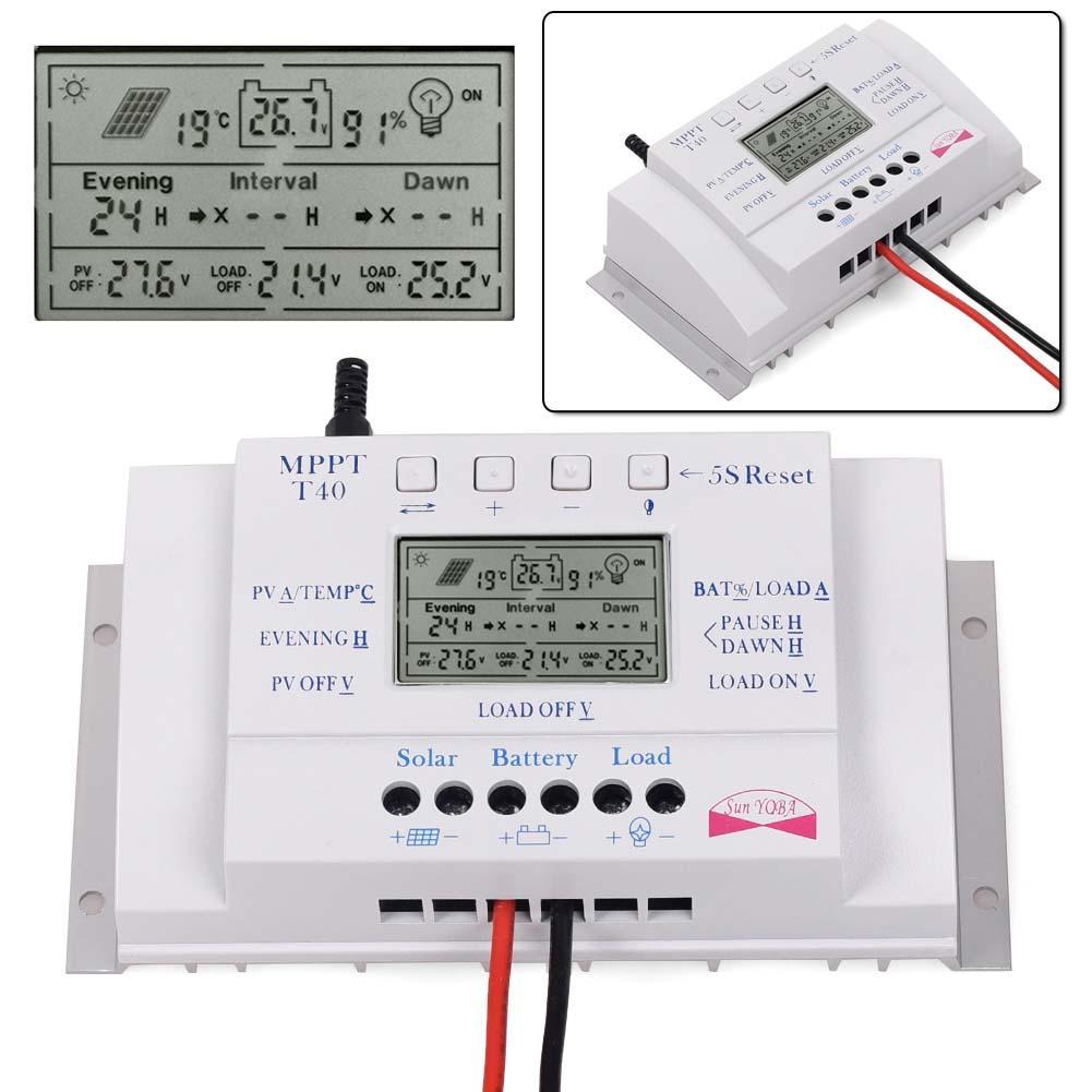 2PCS 40A 12V/24V MPPT+PWM LCD Solar Panel Regulator Charge Controller 3 Timer USB 5v Solar charge controlle Valuable Hot Sales
