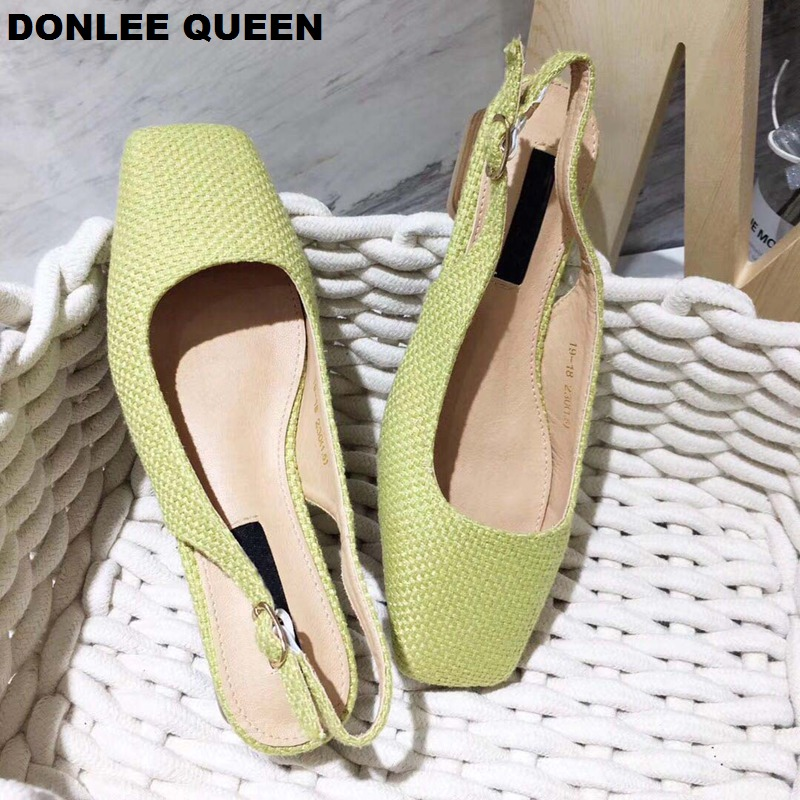 2019 New Summer Low Heel Sandals Back Strap Slip On Mules Square Toe Casual Shoes Fashion Cane Weave Spring Shoe sandalias mujer in Low Heels from Shoes