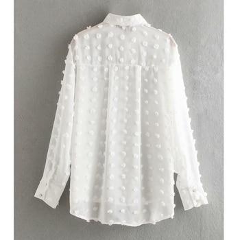 new women fashion dot stitching casual chiffon blouse shirt women long sleeve chic blusas perspective white chemise tops LS3725 2