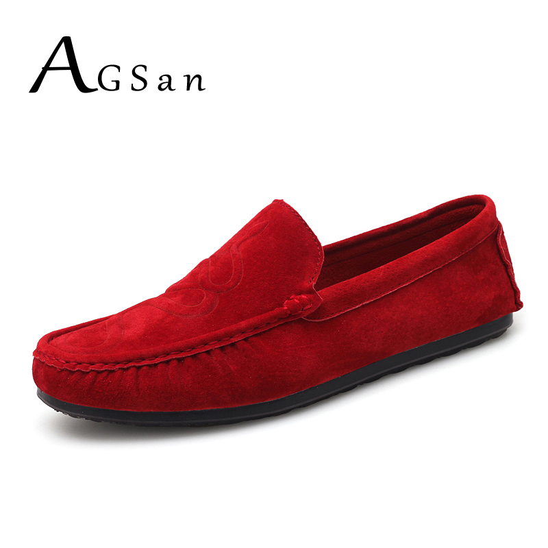 AGSan Genuine Leather Men loafers Snake Moccasins Fashion Driving Shoes Slip On Driving Shoes Black Red Suede Casual Loafers Men men s casual leather loafers shoes genuine emboss crocodile slip on boat shoes penny loafers men s moccasins driving shoes brand