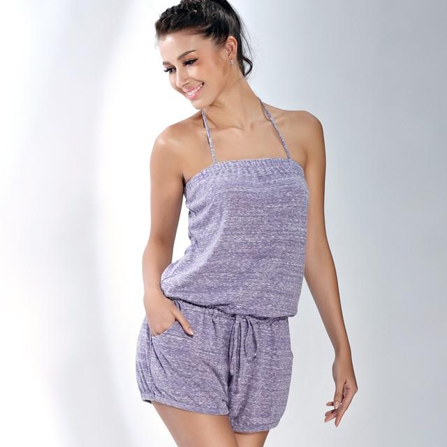 a8a274b71c Ruiou female one piece sleepwear tube top women s tencel cotton lounge  women s one piece shorts