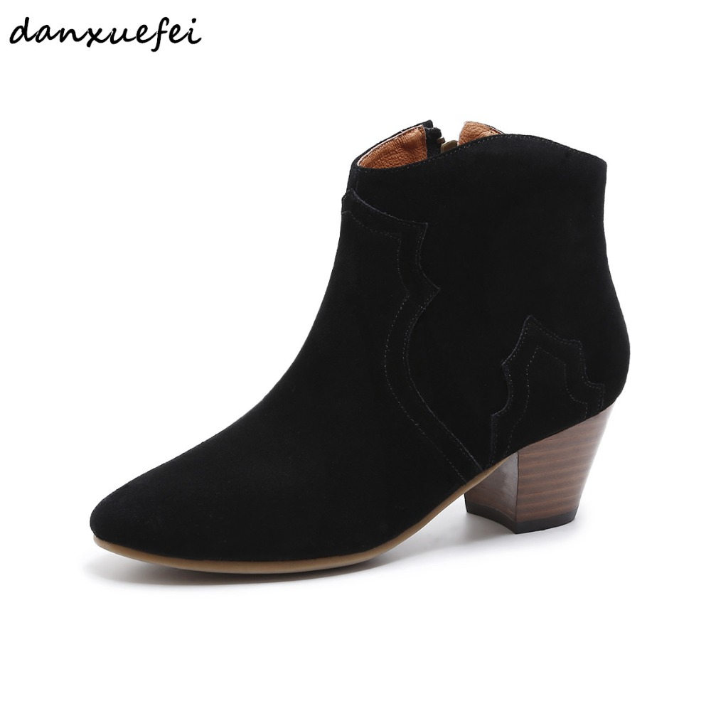 3 Color size 33-40 women's genuine suede leather ankle boots med heel autumn short booties ladies comfortable boots shoes women mtgather toggle clamp 227kg holding capacity quick release vertical type 12132 toggle clamp galvanized iron
