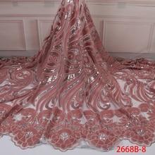 ใหม่มาถึง Sequins ผ้าลูกไม้แอฟริกาไนจีเรีย Tulle ตาข่ายลูกไม้ผ้าสำหรับงานแต่งงานกำมะหยี่ลูกไม้ผ้า Sequins APW2668B 8