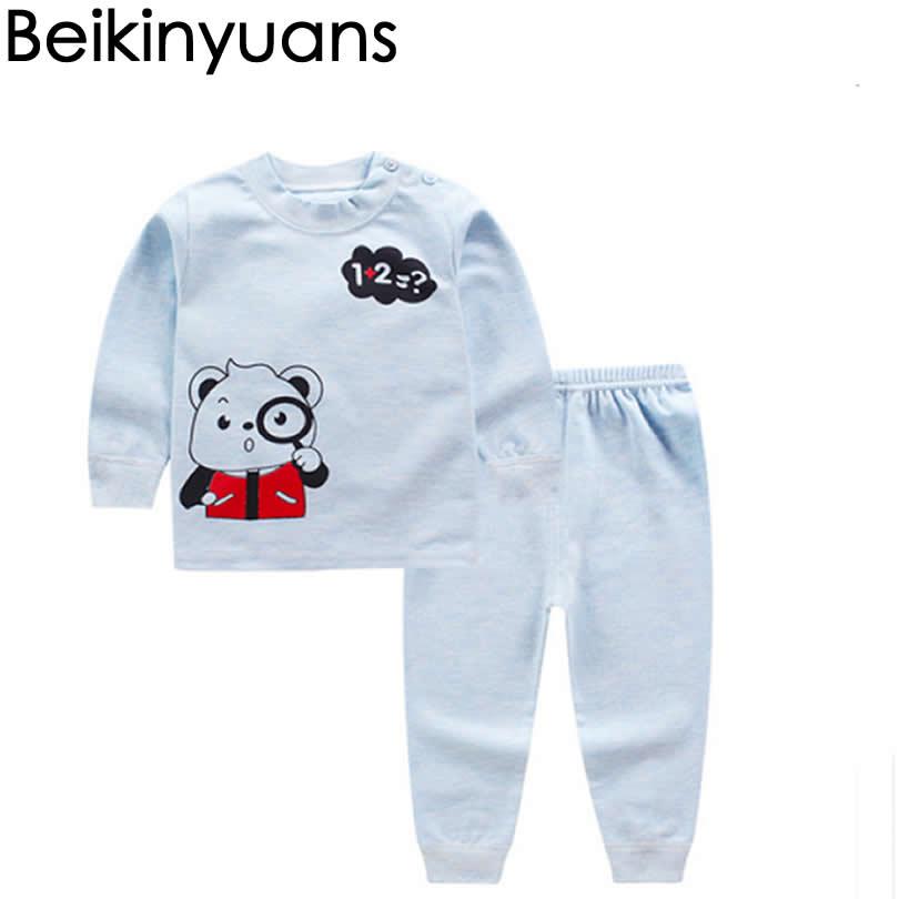Doelbewust Baby Katoen Ondergoed Lente/herfst Kinderen Schouder Gesp Lange Mouwen Peuter Kleding 0-24 M Winter Fall Pyjama Kids