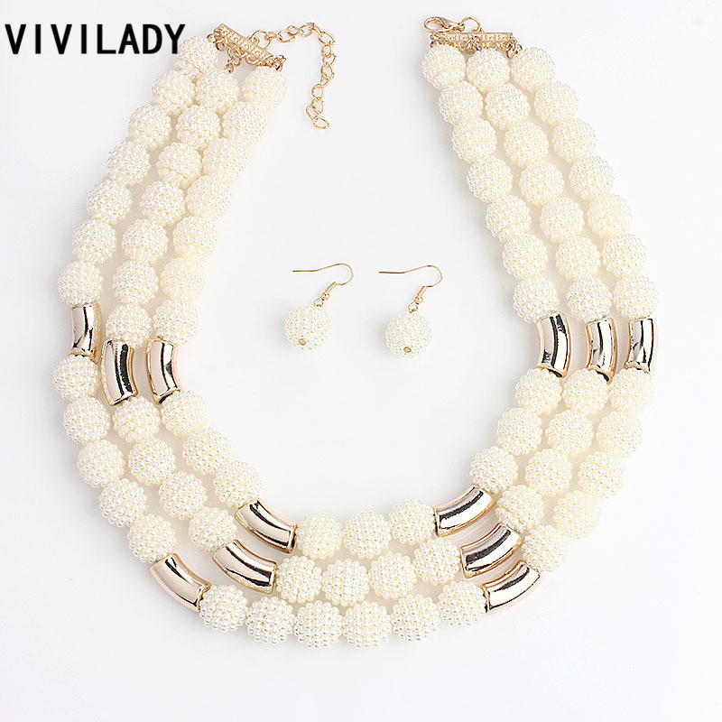 VIVILADY Fashion African Handmade Beads Layer Jewelry Sets Women Summer Winter Choker Necklace Earrings Female Mother Party Gift