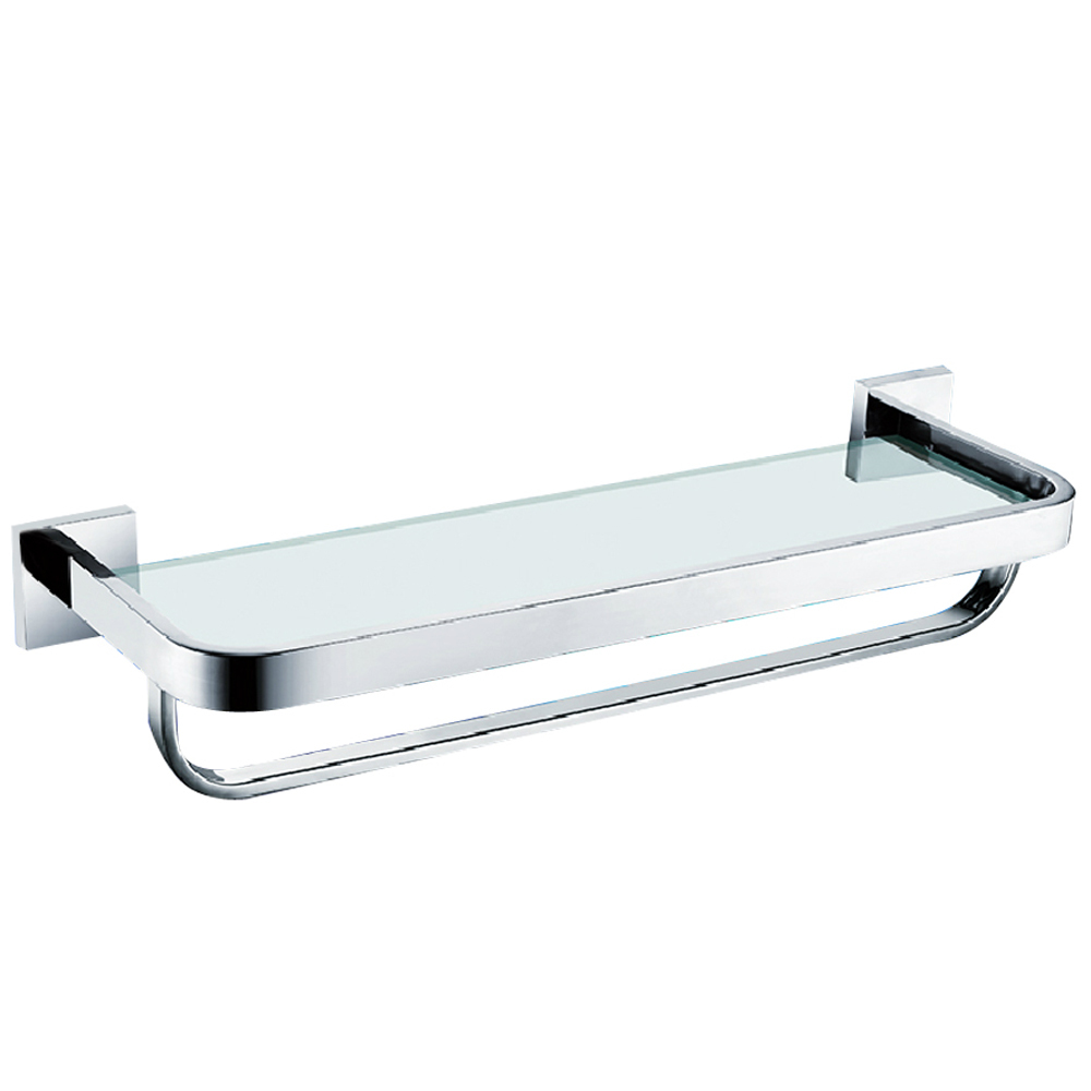 KES A2621 Bathroom Lavatory Tempered Glass Shelf with Towel Bar Wall ...