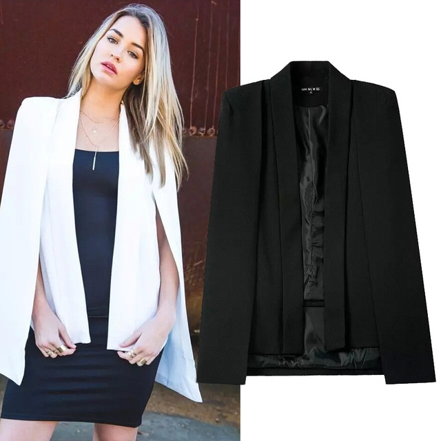 Womens Business Career Style Blazer Notched Collar No Button Black White Long Sleeve Poncho Jacket OL Elegant Cape Cloak WT642-S