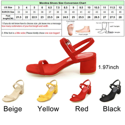 Meotina Design Shoes Women Sandals Summer 2018 Chunky Heel Sandals Open Toe Buckle Party Mid Heels Yellow Red Plus Size 9 42 43 6