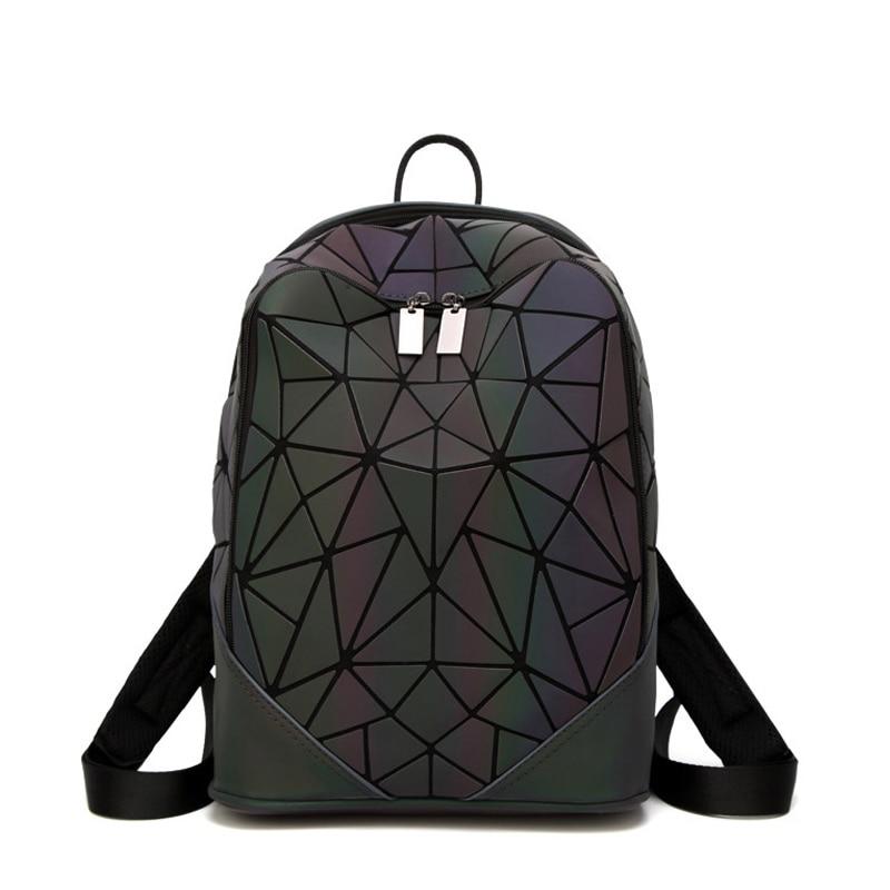 New Women Luminous Backpacks For Girls Daily Men Backpack School Female Geometry Rucksack Folding Bao Bag Travel Bagpack Mochila