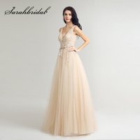 Hot Sale Light Champagne Lace Appliques Prom Dresses Long With Bow Sashes Tulle V Neck Zipper
