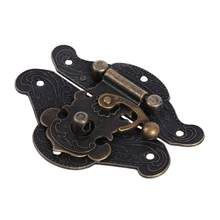 Mini Antique Brass Wooden Case Hasp Jewelry Gift Box Cabinet Box Decorative Hasp Latch for Home Finuture Buckle Clasp Lock(China)