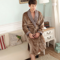 Autumn and winter coral fleece men bathrobe thick long flannel robe male  long  leeve  plus size nightgown sleepwear lounge