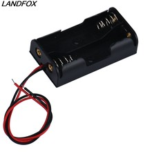 LANDFOX 2018 New Arrival Box Holder For 2 x AA With Wire Leads Plastic Mobile Phone Chargers Battery Storage Case Drop shipping(China)
