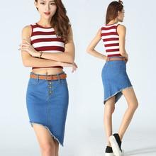 Fringed Irregular Denim Skirt Vintage Button High Waist Blue Slim Women Skirts Ladies Casual Sexy Mini Jeans Skirt C279