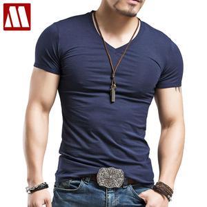 Men's Tops Tees 2020 summer new cotton v neck short sleeve t shirt men fashion trends fitness tshirt free shipping LT39 size 5XL(China)