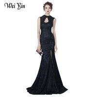 WeiYin черные кружевные вечерние платья тонкий сексуальный длинный рыбий хвост вечерние платье невесты Холтер Высокий Воротник Высокая Разде