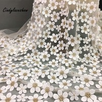 Cindylaceshow Daisy Flower French Mesh Lace Fabrics 100%Polyester White Tulle Dress Sewing Lace Fabric For Wedding