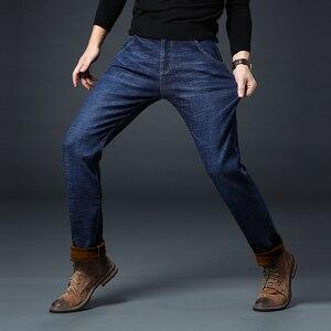 Image 2 - Jantour חורף חם צמר גברים של ג ינס עבה למתוח ינס ז אן ישר זכר מותג כותנה מכנסיים גברים גדול גודל 35 40 42 44 46