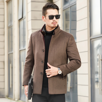 2018 autumn and winter new fashion business casual Slim collar wool coat/Men's long cotton collar collar trench coat jackets