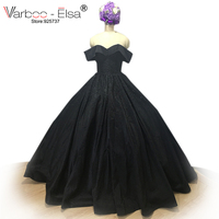 Elegant Black Ball Gown Sweetheart Neck Off Shoulder Beading Formal Evening Gowns Dresses Satin Evening Dress