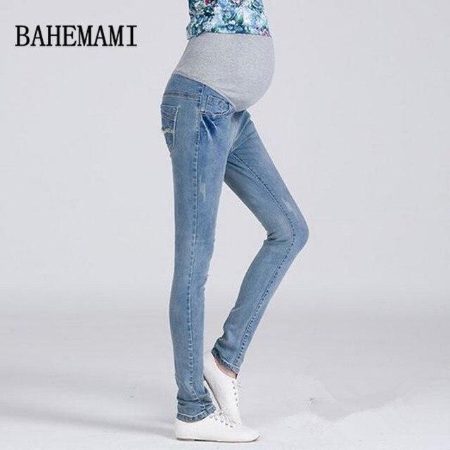 5755f53f9fa3e 3XL Plus Size Elastic Waist 100% Cotton Maternity Jeans Pants For Pregnancy  Clothes For Pregnant Women Legging Autumn Winter