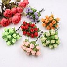 12 шт. см 2 см мини шелковые розы Свадебное Оформление букета искусственный цветок DIY wreath collage ручной работы ремесло украшение, искусственные цветы