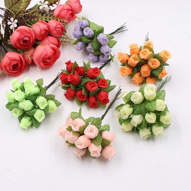 12pcs 2cm Mini Silk Rose Bouquet Wedding Decoration Artificial Flower DIY Wreath Collage Handmade Craft Fake Flower Decoration