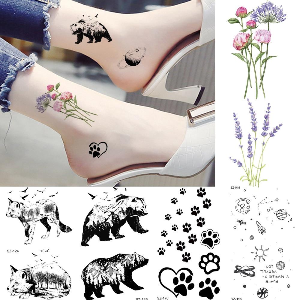 Waterproof Tattoo Women Body Arm Ankle Stickers Small Flower Temporary Tattoo Kids Cute Star Fake Black Animals Tatoos Paw Paste