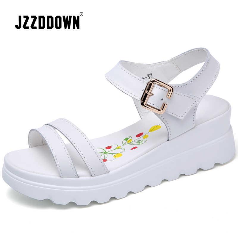 Sandalias de playa de plataforma de mujer de cuero genuino zapatos de dama sin taco Zapatillas de plata blanca Flip Flop zapato de verano calzado de tacón medio