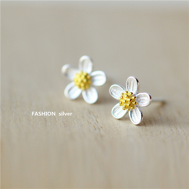 Daisy Flower Earrings - Genuine Sterling Silver 7L5t8Sf7D
