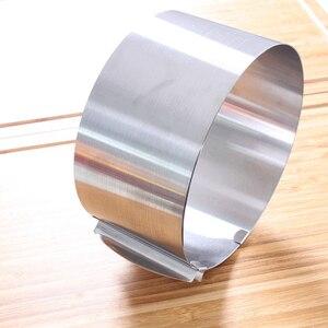 Image 2 - قابل للسحب طوق من الفولاذ المقاوم للصدأ رغوة حلقة كعكة الخبز أداة مجموعة حجم شكل قابل للتعديل خبز الفضة ل أدوات مطبخ