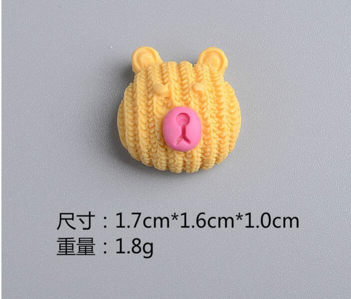 New 1.7cm*1.6cm*1.0cm Mix Color Cute Bear Shape Flat Back Resin DIY Accessories For Hair Bow Center