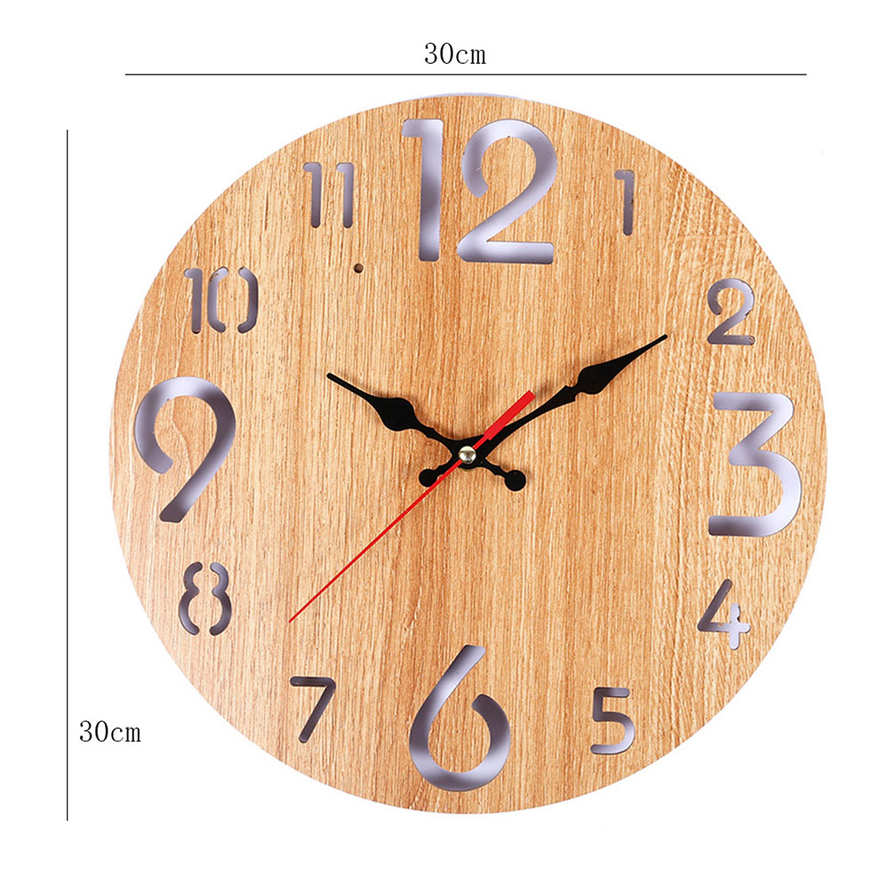Wooden Wall Clock Simple Round Retro Hanging Clock For Home Bedroom Decor J2Y
