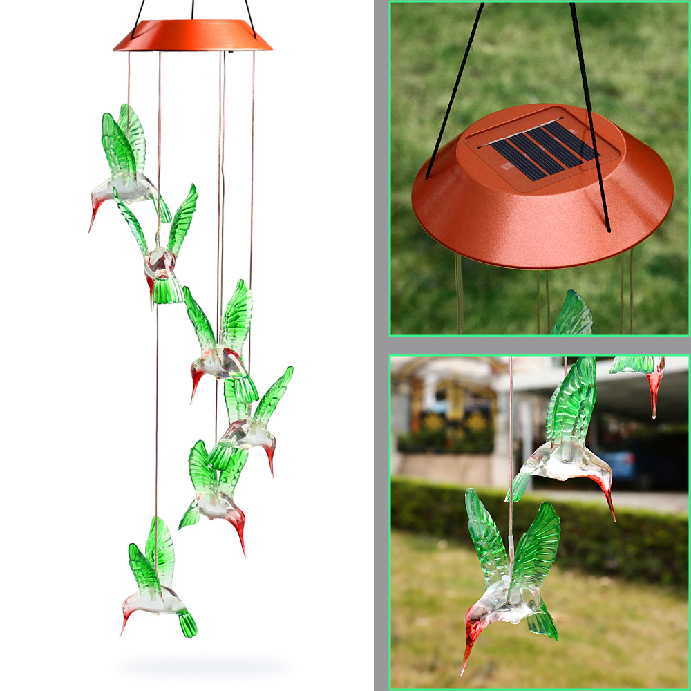 buy Hot Fashion Outdoor Hummingbird Wind Chimes Home Garden Decor Solar Light Solar Color-Changing Wind Chime Light Led Solar Light  pic,image LED lamps offers
