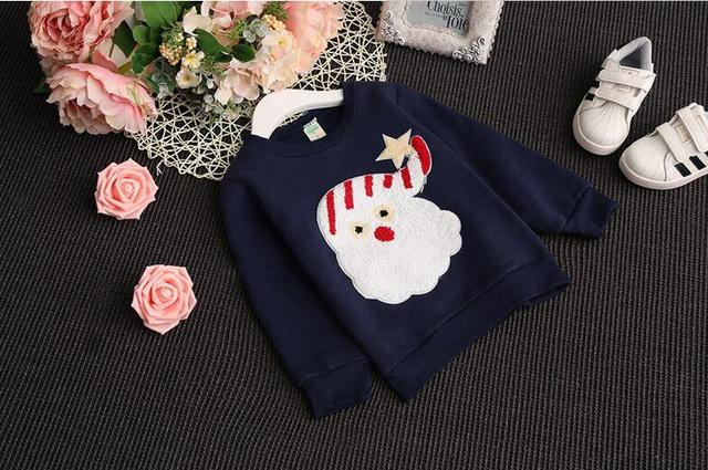 2016 new spring and autumn baby clothing 100% cotton shirt Santa Claus T-shirt girls 1-7 years free shipping
