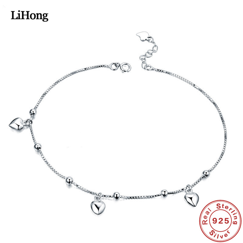New 925 Silver Anklet Woman Heart Pendant 100% 925 Sterling Silver Anklet Summer Fashion Jewelry