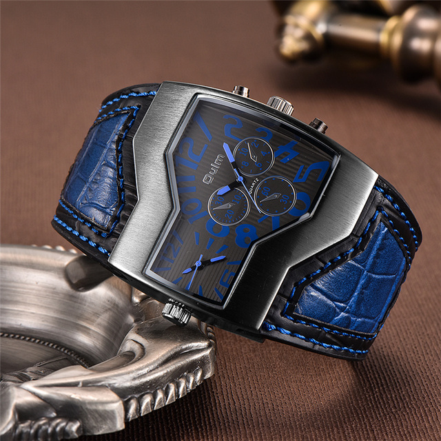 Oulm Classic Style Two Time Zone Men's Watches PU Leather Wristwatch Male Quartz Clock Casual Man Hours relogio masculino