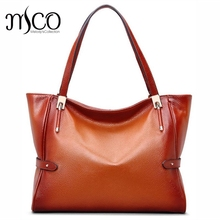 Top-handle Handbags Women Genuine Leather Tote Satchel Shoulder Handbag Vintage Soft Leather Brands Designer Large Shopping bag