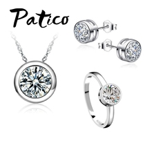 Jewelry-Sets Earring-Rings-Sets Necklaces Wedding-Party 925-Sterling-Silver Pendant Women