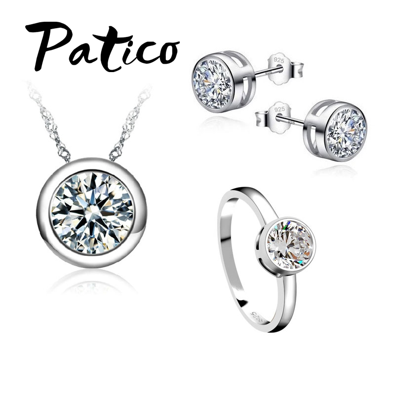Fashion Jewelry Sets 925 Sterling Silver Concise Pendant Necklaces Earring Rings Sets For Women Wedding Party Engagement Jewelry