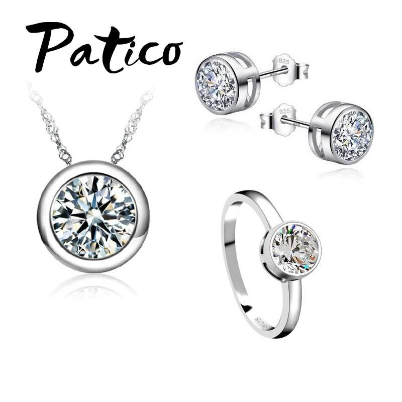 Mode Schmuck Sets 925 Sterling Silber Concise Anhänger Halsketten Ohrring Ringe Sets Für Frauen Hochzeit Engagement Schmuck